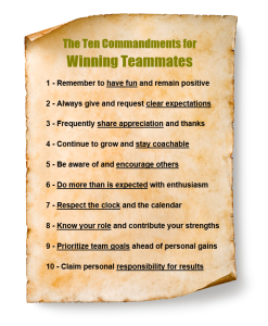 10 teammate commandments on scroll greem image