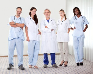 Successful happy group of doctors